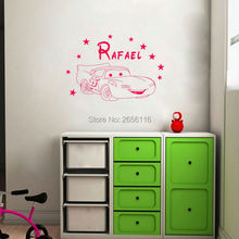 Personalized Baby Name Wall Decals for Baby Room Cartoon Roadster Car Wall Stickers for Nursery Decor
