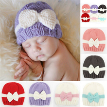 Cute Baby Beanie Hat Hand Knitted Premature Newborn Baby Beanie Hats Choice of 6 Colours Baby Girls Bow Caps(China)