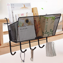New Iron Over Door Storage Rack Practical Kitchen Cabinet Drawer Organizer Door Hanger Storage Basket Kitchen Tools book shelf(China)
