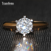 TransGems 1 Carat Lab Grown Moissanite Diamond Solitaire Wedding Ring 6 Prongs Women Classic Engagement Solid 14K Two Tone Gold(China)