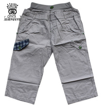 XIAOYOUYU Size 120-160 Boy & Kid Cotton Shorts Good Quality Elastic Waist Children Casual Loose Capris Trousers Blue / Khaki(China)