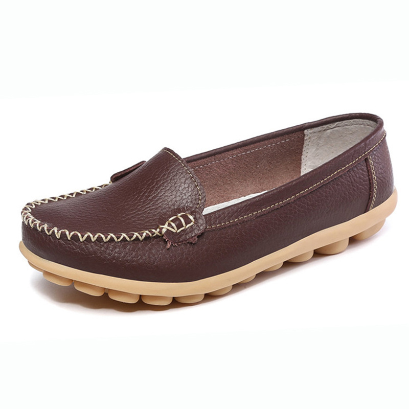 New Genuine Leather Women Shoes Causal Soft Woman's Flats Female Moccasins Nurse shoes(China)