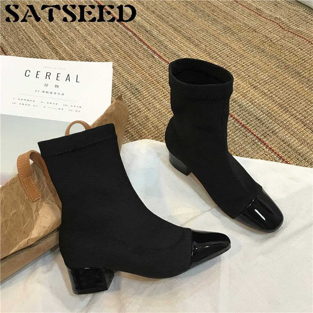 2018 Shoes Woman Autumn Socks Boots Square Toe Personality Fashion Boots Stitching Middle Heels Female Black Shoes Anti Slip New<br>