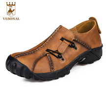 VESONAL Handmade 2017 Casual Male Shoes Adult For Men Ons Genuine Leather Breathable Brand Soft Quality Comfortable Footwear Man(China)