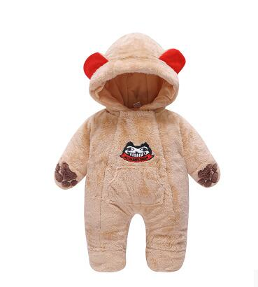 new Fashion Autumn and winter newborn baby rompers thicker  warm package foot  lovely overalls<br>