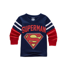 New Autumn Spring Superman Children Kids Boys Long Sleeve T Shirt Cartoon Children's Clothing T-Shirts Boys Wear Clothes 22