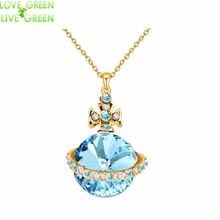 new Free Shipping women Promotion  yellow gold color Austrian Crystal Saturn Pendant chain Necklace fashion jewelry 80201