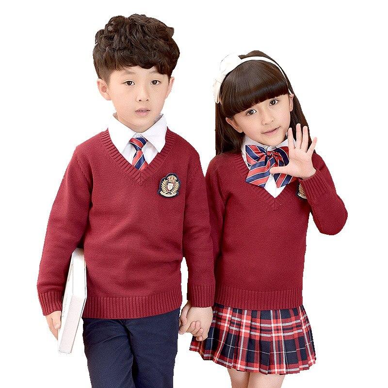 Children Unifroms 2018 New Autumn Winter Clothes School Uniforms Suit Plaid Skirt Cardigan Sweater Primary School Uniforms 2-10T<br>