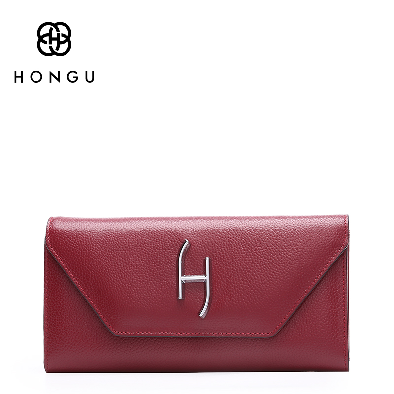HONGU Fashion Brands Natural Genuine Leather Wallets Evening Bags Women Top-Handle Wristlets Leisure Passcard holder Hasp Purses<br>