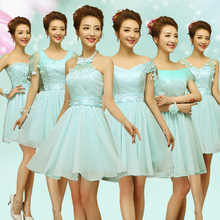 cheap short top light blue semi formal boat neck chiffon bridal party robes evening dresses summer dress 2017 for teen W3559