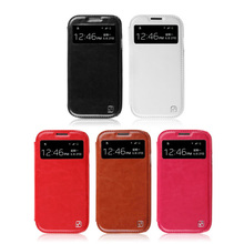 HOCO Crystal View series leather case for Samsung Galaxy S4 i9500 Free shipping best quality cheap leather case S4 Free shipping