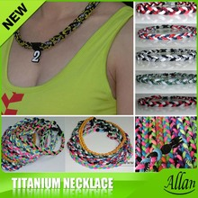 Custom Cheap Sports Fashion Silicon Multicolor Braided Magnetic Therapy Titanium Necklace