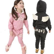 Winter Girls Clothing Set Thicken Zipper Coat+Harem Pants Clothes Sets For Boys Sport Suit Toddler Tracksuit Baby Ski Suit(China)