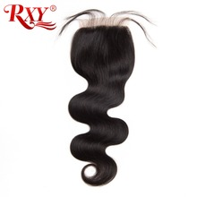 RXY 4x4 Lace Closure Free Part Peruvian Body Wave Closure Bleached Knots Natural Color Remy Human Hair Closures With Baby Hair