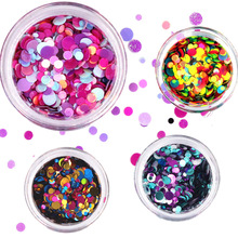 1 Box Shiny Round Ultrathin Sequins Colorful Nail Art Glitter Tips UV Gel 3D Nail Decoration Manicure DIY Accessories 2017 new