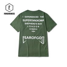FORGIVENESS Kanye west#fog# printing green Tee shirt plain short sleeved T shirt in summer high street punk rock