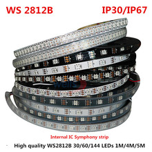 LED Strip lights WS2812B 30/60/144 pixels full color intelligent 5050 built-in IC programmable water lamp IP65 IP67 Black/White(China)