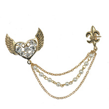 Unisex Fashion Jewelry Gold Metal Crystal Love Heart Angel Wing Brooch Pin Beaded Chain Crown Collar Clip For Blouse