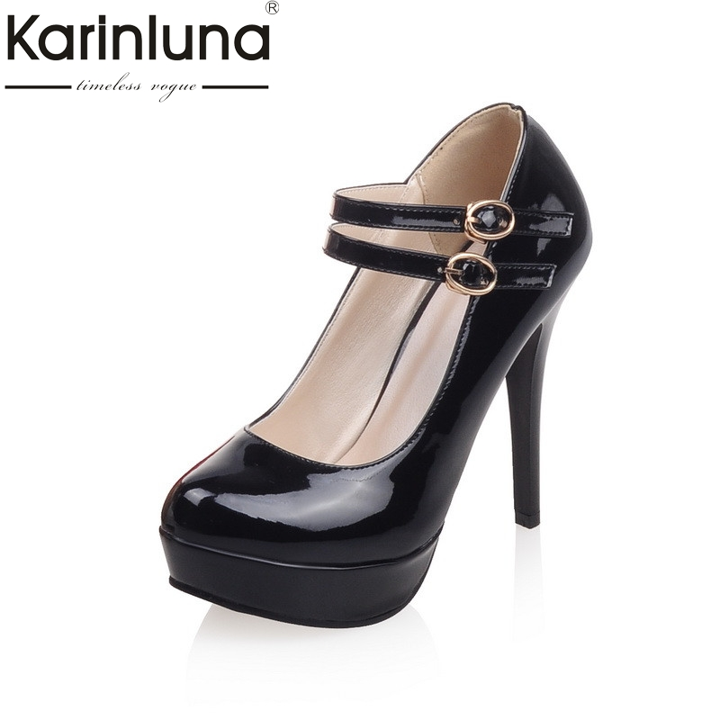 Karinluna 2018 Spring High Thin Heels Platform Mary Janes Pump Fashion Patent Leather Shallow Shoes Woman Large Size 33-43<br>
