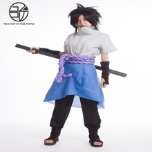 Naruto Shippuuden Uchiha Sasuke cosplay costume 4th generation clothing full (coat + pants + skirt + rope + wrist) S-XXL(China)