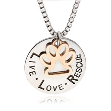 "Lettering ""LIVE LOVE RESCUE"" Hollow Gold Paw Claw Pendant Necklace Angel Pet Simple Jewelry Special Gift Adopt Dog Lovers"