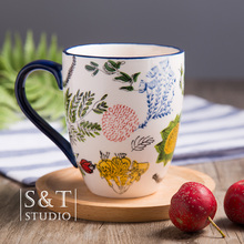 Japanese Hand-Painted Underglaze Color Ceramic Cup Creative Minimalist Retro Mug Coffee Cup Milk Cup Home cup