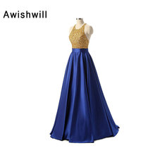 2017 Celebrity Evening Gowns Halter A Line Beadings Satin Floor Length Prom Dress Backless Women Special Occasion Evening Dress