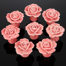 8Pcs Furniture Handles Ceramic Cabinet Knobs and Handles Door Cupboard Drawer Kitchen Pull Handles Furniture Fittings Pink Rose(China)