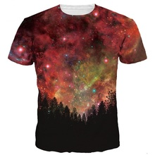 Fashion Men/Women Hip Hop 3d T-shirt Summer Casual Tops Tees Digital Print Night Trees Space Galaxy 3d Tshirts Plus S-6XL R99(China)