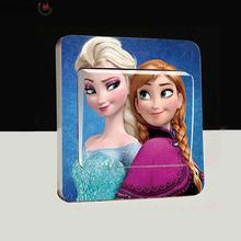Old Passenger _ Light Switch Stickers New cartoon Anna and Elsa snow toys wall stickers switch stickers Anka Beralih Stiker