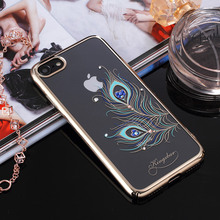 KINGXBAR for Apple iPhone 8 Case Authorized Swarovski Crystal Plating PC Phone Case for iPhone 8 7 4.7 inch - Peacock Feather(China)