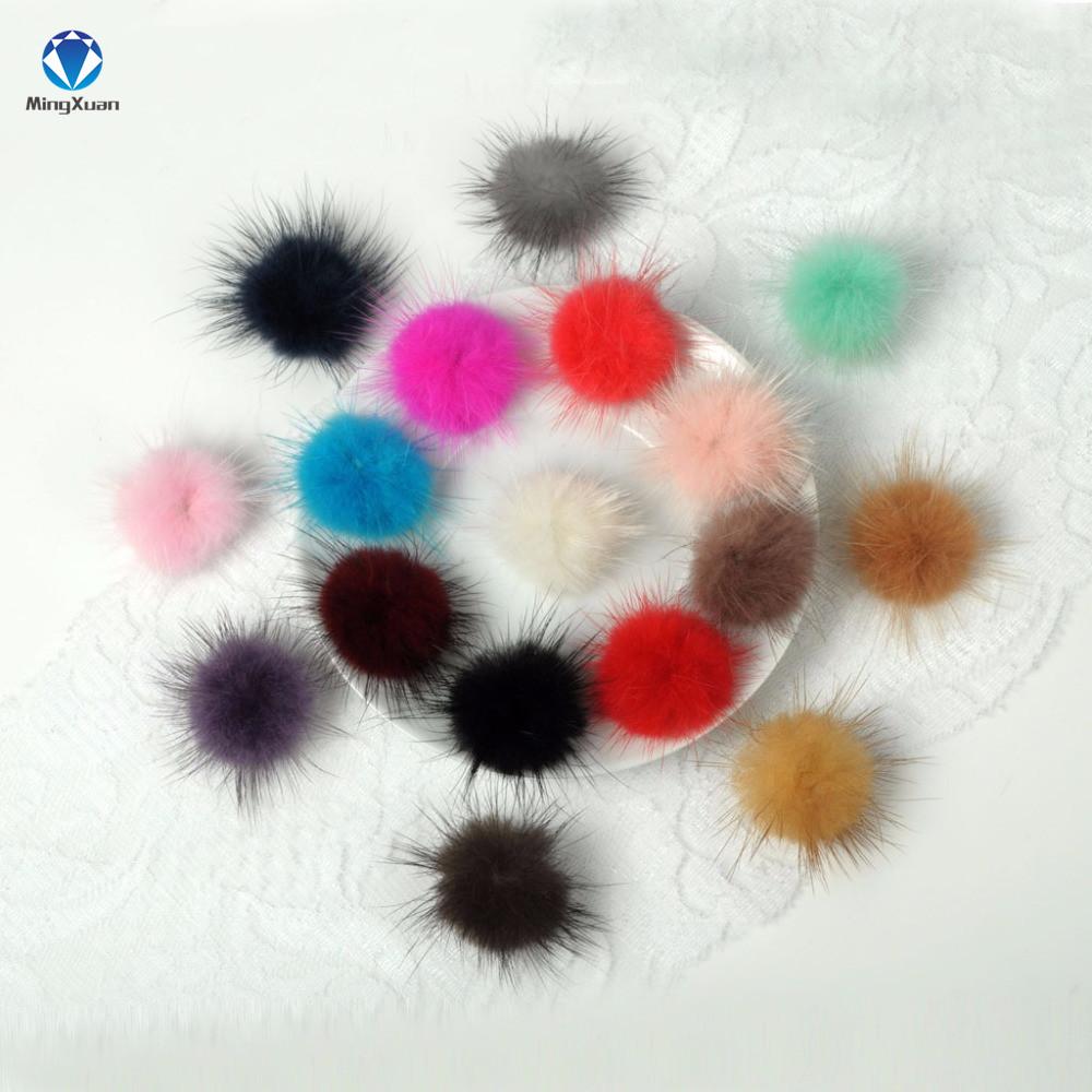MINGXUAN 100pcs/lot 30MM Mink Fur Ball Fur Pompom DIY Jewelry Findings Mink Ball for shoes jewelry cloth Making Craft(China (Mainland))