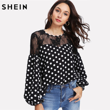 SHEIN Spring 2018 Elegant Womens Tops and Blouses Black and White Bishop Sleeve Floral Lace Shoulder Polka Dot Top(China)
