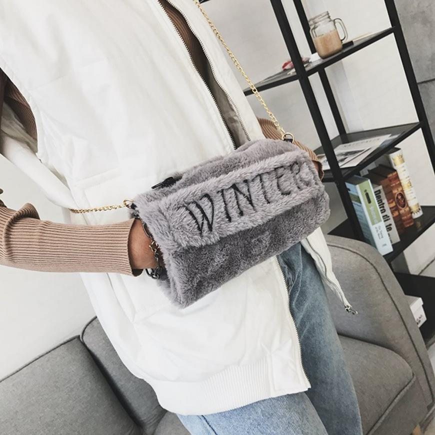 Women messenger Warm hand bags bolsas feminina Winter Fashion Cute Letter Plush Lady Crossbody Shoulder Bags bolsos mujer 2017