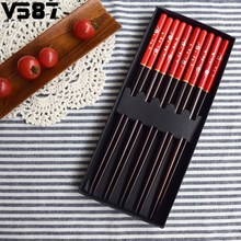Red Black Handle Design Couple Chopsticks 5 Pairs Japanese Wooden Chopsticks Gift Set Rice Food Kitchen Dinner Tools