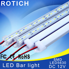 2pcs*50cm led rigid bar light led aluminium profile smd 5630 DC 12V table lamp led bar caravan under cabinet led lighting(China)