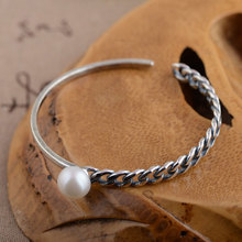 925 Silver 10mm Pearl Bangle Fashion Vintage Open Size Diameter 54mm 100% S925 Sterling Silver Bangles for Women Jewelry(China)