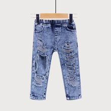 Fashion Unisex Summer Broken Hole Pants Trousers Baby Boys Girls Jeans Clothes Elastic Waist Britches Clothing For Kids Children(China)