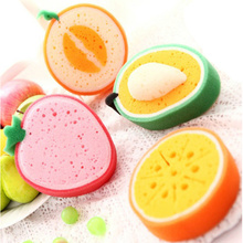 Attractive thicken fruit shape sponge scouring pad magic sponge washing dishes oil resistance thickened magic scouring wholesale
