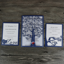 50- Royal Blue Hot sale chic tree design wedding party decoration paper craft laser cut wedding invitation card greeting card