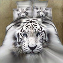 Animal Bedding Set White Tiger Printed Bedlinens Adult Queen King Size Single Double Bed Sheet Duvet Cover Pillowcase Sets