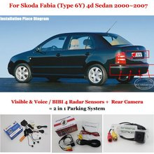 Liislee Car Parking Sensors + Rear View Camera = 2 in 1 Visual / BIBI Alarm Parking System For Skoda Fabia (Type 6Y) 4d Sedan(China)