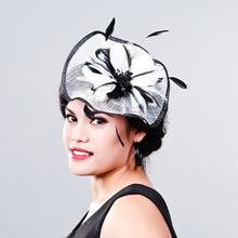 New 2017 Elegant Ladies Sinamay Wedding Fascinator Hats Bridal Cocktail Hats with Feather For races church wedding party MD16001(China)