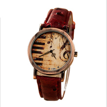 2017 New Vintage Wristwatch Women Casual Quartz-Watch With Music Symbol Watch Dial Ladies Clock Proof Water Dial TKS553