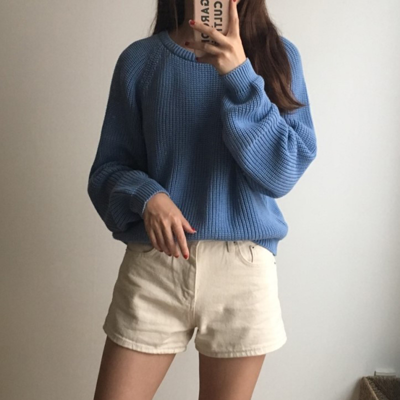 Korean Fashion Ladies Full Sleeve Women Knitting Sweater Solid O-Neck Pullover And Jumper Loose Sweater Hot Sale S809Q 12