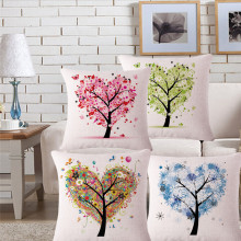 New Arrival Home Decorative throw pillows case Love Shape Trees Red Green Blue Cushion Cover For Sofa Home funda cojines 45X45CM