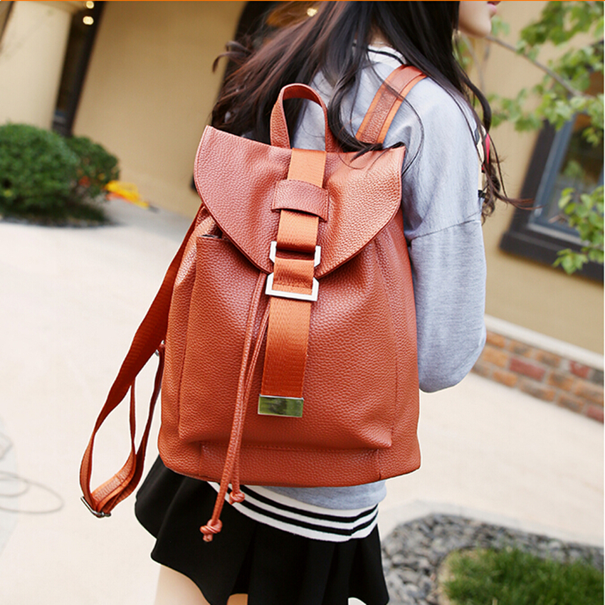 2017 New Fashion Women Backpack Preppy Style School Bag Teenagers Girl Travel Casual  Waterproof Pu Leather Black Brown<br><br>Aliexpress