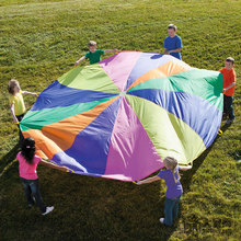 182CM/365CM Rainbow Umbrella Outdoor Sport Toys For Chidlren Multicolor Nylon Kids Parachute Team Cooperation Interactive Games(China)