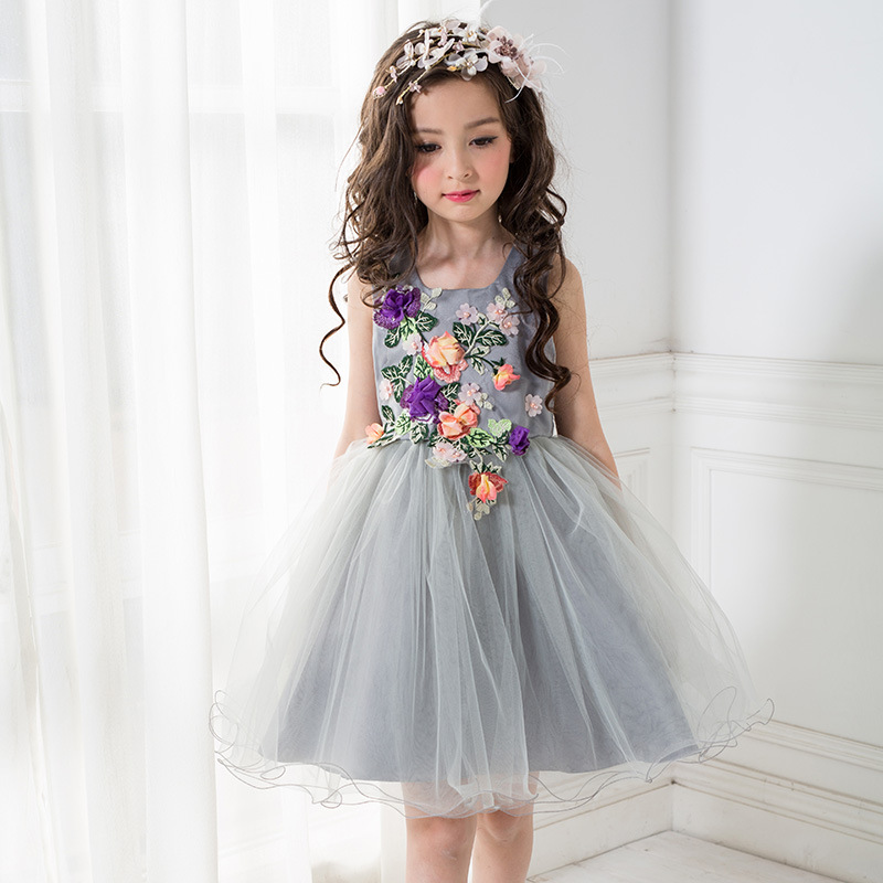 Floral Formal Girls Dress for Wedding Birthday Gray High Quality Flower Girl Vestido 2017 Girl Clothes 3 4 6 8 10 12 T RKF174005<br>