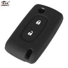DANDKEY 2 Button Silicone Remote Key Cover Case Fob For Peugeot 107 207 307 307S 308 407 607 2BT DKT0269(China)